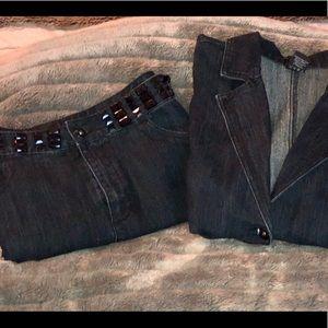 Ashley Stewart, Denim Skirt Suit